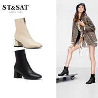 ST&SAT星期六秋季尖头粗跟高跟甜美短靴女靴SS93116084
