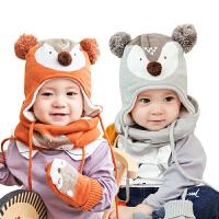 宝宝帽子围巾两件套男童女童儿童围脖秋冬季保暖婴儿帽子
