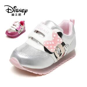 【达芙妮集团】迪士尼 秋休闲女童鞋珠光鞋面运动鞋灯鞋