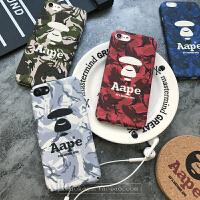 新款iphone7plus手机壳6猿人头aape男女苹果6s迷彩5s磨砂硬6p 6/6s 绿色 4.7寸