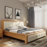 专柜发货|7天无理由退换实木床主卧床皮床现代简约婚床北欧家具全实木米大床双人床 +2个G03床头柜 1800mm*20
