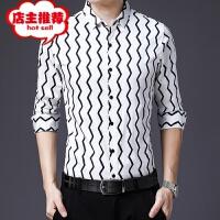 春秋季新款男士长袖衬衫青年翻领条纹衬衣休闲时尚男装一件
