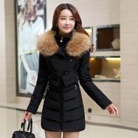 时尚羽绒服女中长韩版修身毛领加厚保暖大衣冬季外套女
