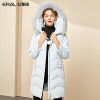 艾莱依2019秋冬新款时尚修身保暖中长款羽绒服女装大衣601801118