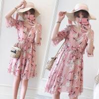 大码女装连衣裙夏装2019新款收腰显瘦喇叭袖200斤胖仙女裙子 粉色