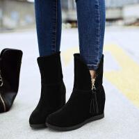 彼艾2017秋冬新款平底短靴女 内增高平底短靴 磨砂皮侧拉链流苏雪地靴女靴子