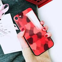 苹果6玻璃手机壳镜面女款iphone8plus/7/6s/x后壳个性创意红爱心防摔社会人抖音同款外壳