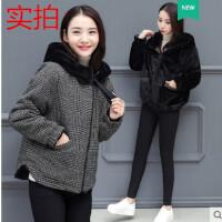 棉衣女短款2019冬装新款加肥加大码正反两面穿小棉袄加绒加厚外套