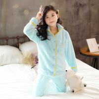 女童家居服冬装韩版中大童长袖法兰绒保暖珊瑚绒睡衣套装潮童装