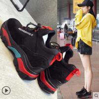 百搭潮款新款网红运动鞋女韩版休闲跑步鞋厚底内增高老爹鞋女
