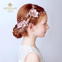 儿童头饰头花饰品发夹花朵粉色花童礼服演出配饰女孩头饰