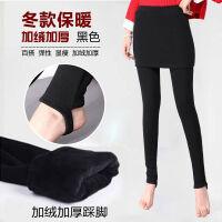 加绒加厚秋冬外穿女士修身保暖踩脚显瘦包臀裙裤弹力假两件打底裤 X