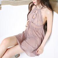 性感睡衣女夏情趣超薄透明睡衣超短火辣深V诱惑睡裙 香芋紫 165(L) 适合体重60kg到72kg