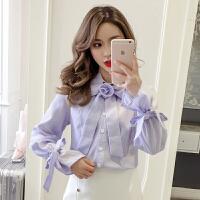 春季新款韩版POLO领蝴蝶结系带长袖格子衬衫女甜美淑女衬衣潮
