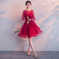 敬酒服新娘2018新款夏季短款显瘦端庄大气红色结婚晚礼服裙女春季