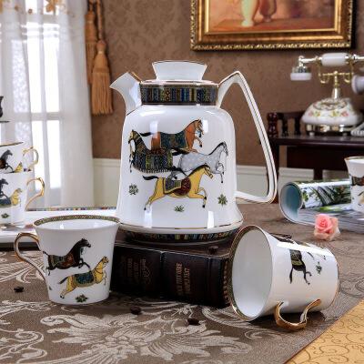 咖啡杯套装欧式茶具咖啡具英式下午茶红茶陶瓷杯具带托盘礼盒装 图片色