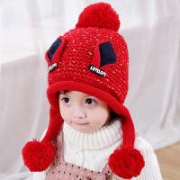 儿童帽子秋冬宝宝毛线保暖绒款护耳帽2-3-5岁