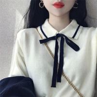 秋冬韩版宽松蝴蝶结毛衣外套女学生套头长袖针织衫女打底上衣 S 75-90