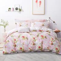 富安娜出品四件套全棉纯棉被套床单田园风宿舍三件套床上用品