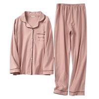 情侣款针织睡衣套装男女开衫长袖长裤家居服两件套 秋冬装