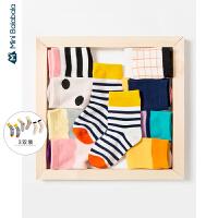 【1件6折】迷你巴拉巴拉儿童袜子男童宝宝亮彩短袜2019秋新款三双装女童袜