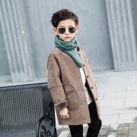 童装男童外套秋装2018新品洋气儿童呢子大衣加绒毛呢加厚冬装上衣