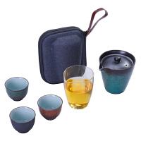 唐丰TF9112陶瓷快客杯一壶三杯功夫茶具便携收纳包家用旅行简约茶杯茶壶