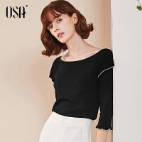 【2件3折价:83.3】OSA欧莎套头针织衫秋装短款女2019新款黑色一字肩上衣修身薄款