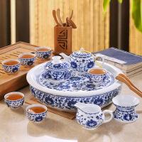 【特惠购】功夫茶具套装家用高档中式青花瓷复古景德镇陶瓷茶杯茶壶茶盘整套