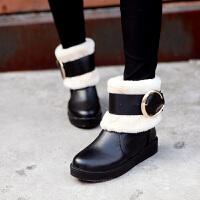 彼艾2016冬季新款保暖女靴毛毛雪地靴松糕厚底冬鞋内增高短靴皮带扣短筒靴