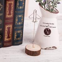 标签夹子 桌面办公创意便签照片展示支架清新简约复古木质留言夹送朋友礼品