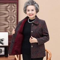 中老年女装春秋短款外套60妈妈秋冬装70岁奶奶装大码上衣老人衣服 2XL 建议110-125斤