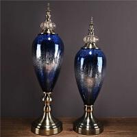 欧式玻璃摆件家居软装饰品样板房间客厅电视柜玄关酒柜新古典摆件