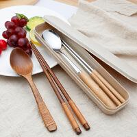 木质筷子勺子套装 日式学生成人旅行便携餐具三件套木勺