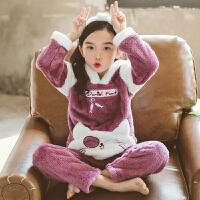 儿童法兰绒睡衣女孩秋冬季厚款珊瑚绒女童睡衣中大童家居服套装
