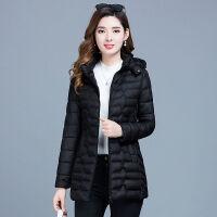 棉衣女中长款2019冬装女士修身轻薄妈妈显瘦大码棉袄 XL 95-107斤