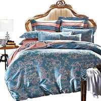 欧式贡缎提花四件套床上用品全棉纯棉被子被套三件套件床单人床品
