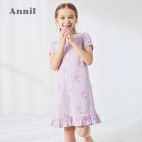【活动价:133.25】安奈儿童装女童睡裙透气2020夏季新款莫代尔中大童女生短袖家居服