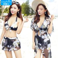 韩国泳衣女三件套比基尼分体裙式保守遮肚小胸聚拢性感泡温泉游泳 黑色 S
