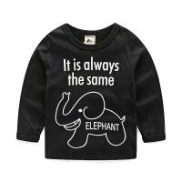 男童长袖T恤 2019春装新款卡通童装宝宝儿童打底衫女童上衣潮 深灰色 黑色大象