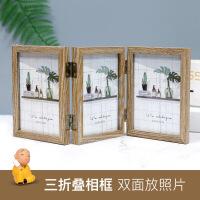 创意轻奢北欧个性铁艺相框摆台ins木质双面相架简约现代摆件6寸六 +洗照片+礼品袋