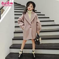 儿童呢子大衣秋季2018新款韩版洋气外衣女孩毛呢外套潮