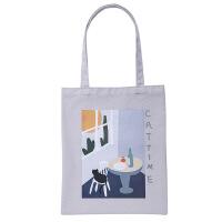 时尚帆布收纳背包 出行备用便携可折叠环保购物袋 单肩帆布背包 灰色 图片色 图片色
