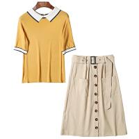 休闲套装女2019新款夏季时尚气质宽松针织衫半身裙两件套6162