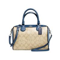 拼色枕头包 蔻驰(COACH)女包 奢侈品 新款女士经典C纹手提斜跨波士顿水桶包 F57495 卡其配蓝色