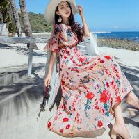 巴厘岛沙滩裙女夏2019新款泰国海边度假雪纺长裙海滩裙连衣裙大码 红花