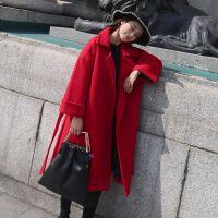 2019冬季韩版毛呢外套大码女装长款修身收腰呢子女大衣