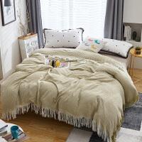 夏季竹纤维盖毯毛毯午睡薄毯子单人色织水洗毛巾被子双人北欧纯色夏凉被空调毯