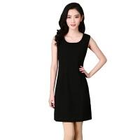韩版大码女装无袖黑色背心裙连衣裙女夏中款包臀打底裙 背心裙黑色