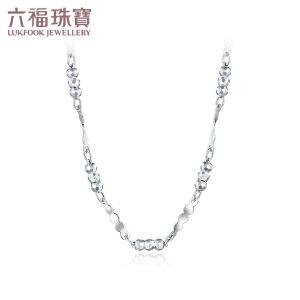 六福珠宝PT950铂金项链圆珠间扭片铂金项链计价G07TBPN0005